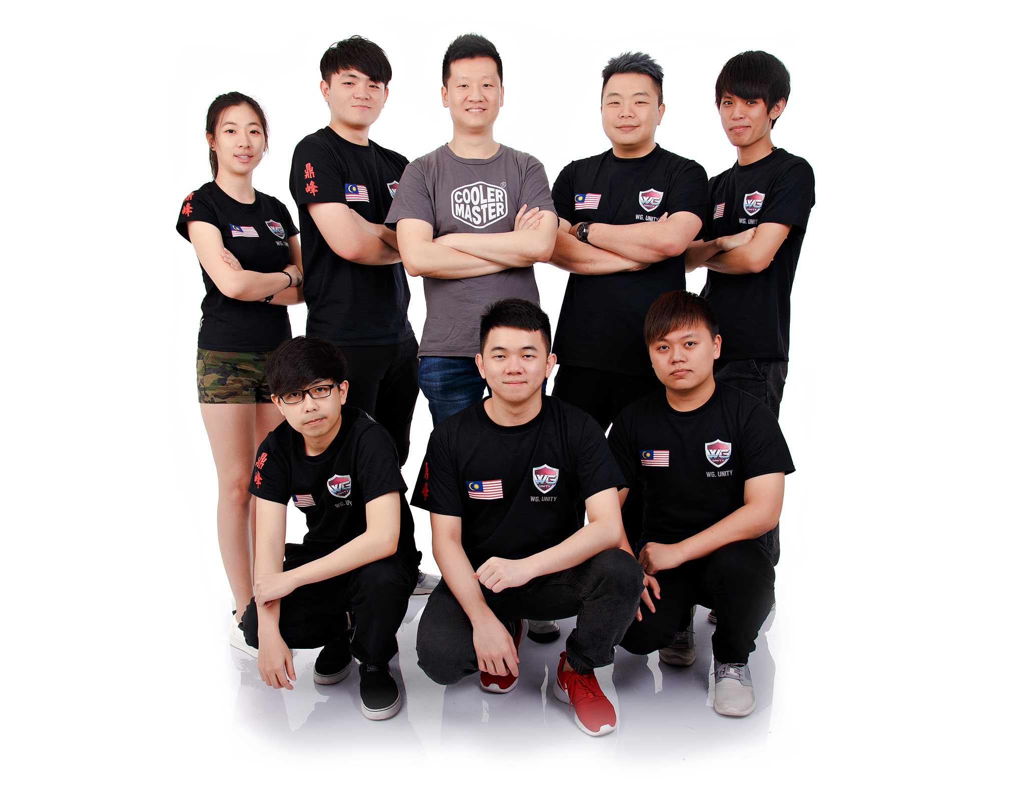 "Top Left to Right: Bonnie Ng (Manager), Tue ""ahfu"" Soon Chuan (Captain), Eng Kiat (Cooler Master Malaysia), Wayne Kok (Coach), Lai ""Ah Jit"" Jay Son Bottom Left to Right: Raphael 'KaNG' Chua, Neng ""Wenn."" Ee Wooi, Kam 'NaNa' Boon Seng"