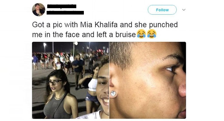 Mia Khalifa punch fan twitter