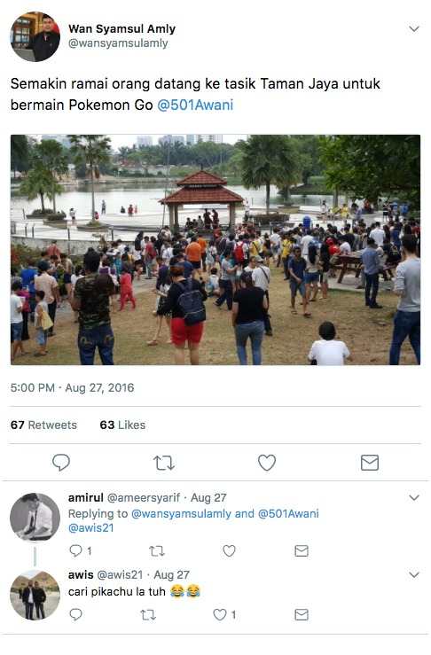 A tweet showing Malaysians Poke-hunting in Taman Jaya last year