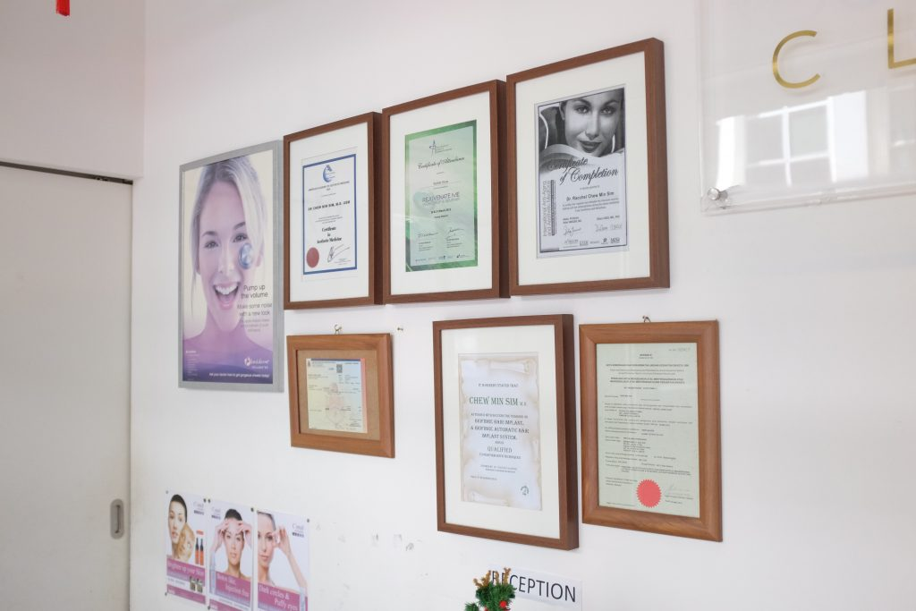 Some of Dr.Chew's accomplishment displayed at her office.