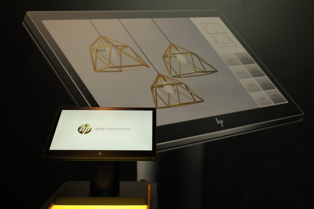 HP ElitePOS Retail System product display at the exclusive launch.