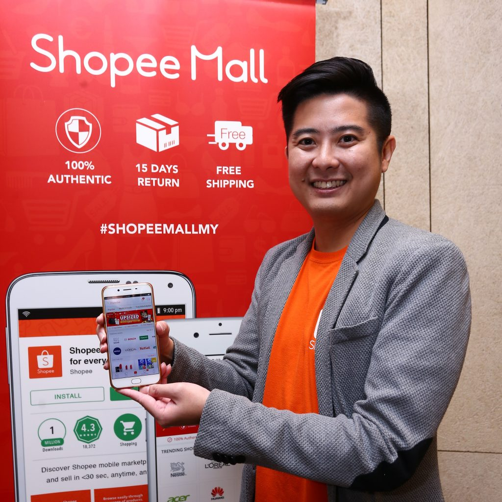 Ian Ho, Regional Managing Director of Shopee with the newly launched Shopee Mall feature on Shopee App.