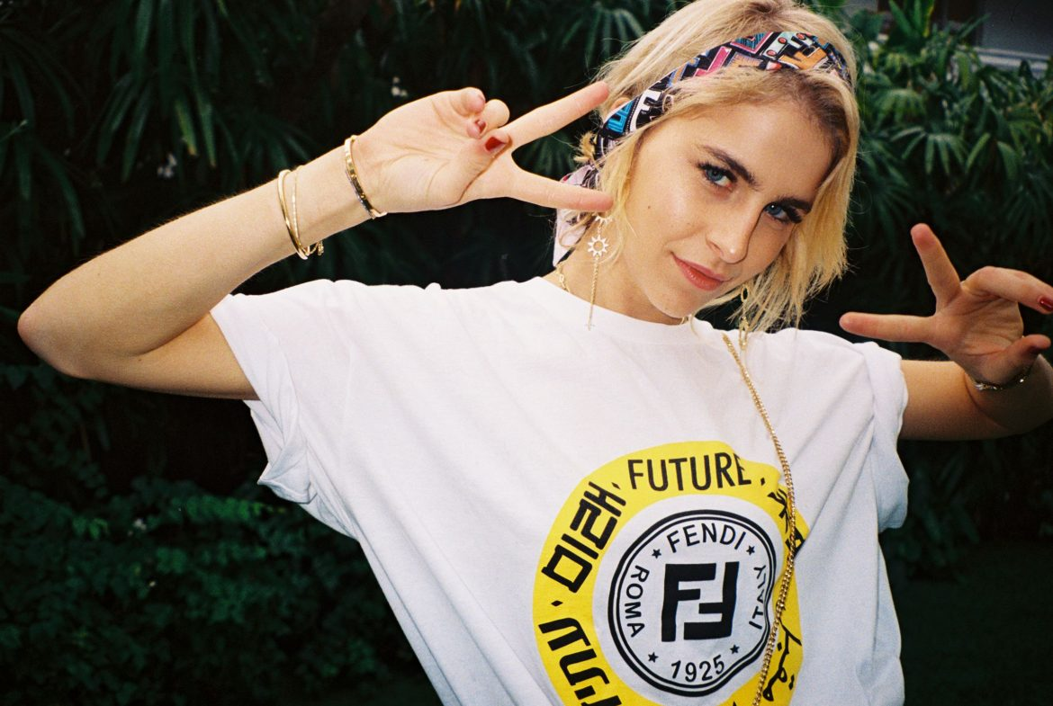 01_FISFORFENDI_Caro Daur wearing The Rinf of The Future t-shirt