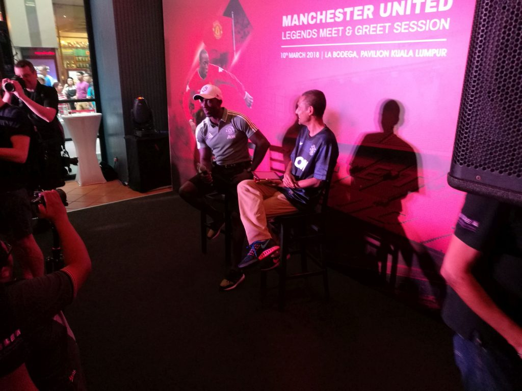Dwight Yorke and radio DJ JJ getting questions from the fans
