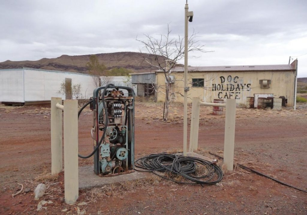 An abandoned cafe in the asbestos-riddled ghost town of Wittenoom,