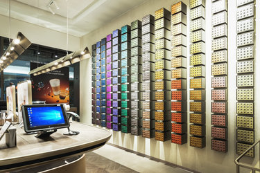 The iconic sleeves wall in the new Nespresso Boutique