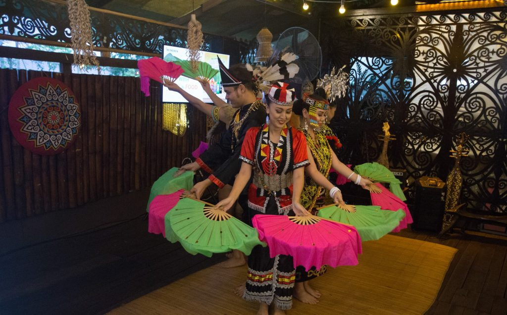The dancers incorporated several elements into their performance, including a vibrant fan dance