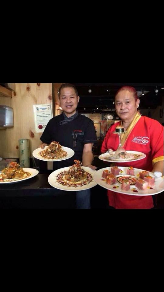 From left is owners of FujiYama Japanese Restaurant, Mr Fuji and the right is Mr Yama