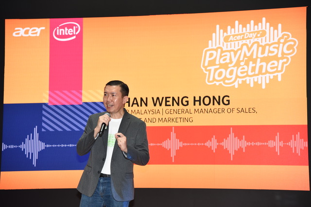 "Chan Weng Hong, General Manager of Products, Sales and Marketing, Acer Malaysia welcoming attendees at the Acer Day ""Play Music Together"" launch"