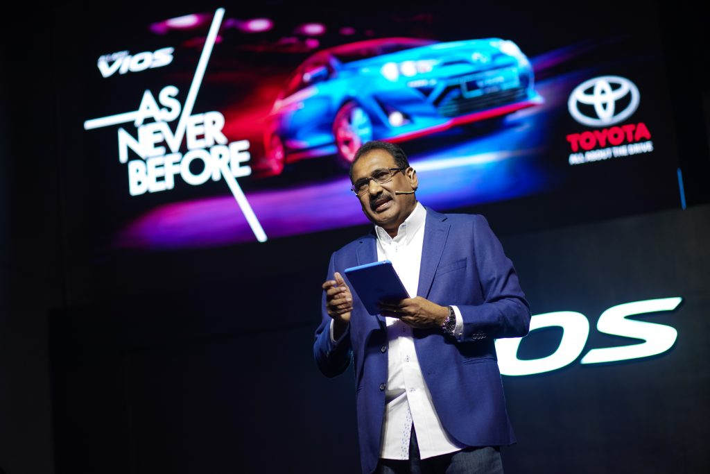 Mr Ravindran K., President of UMW Toyota Motor, giving his opening note and explaining the inspiration behind the music video As Never Before.