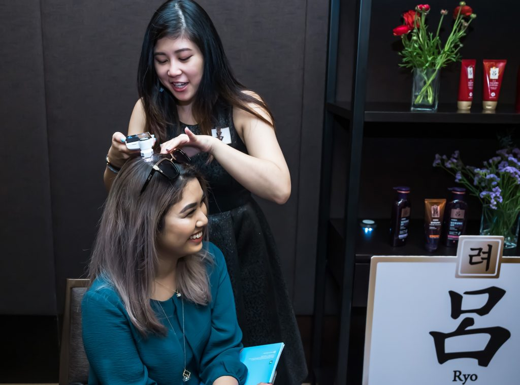 Scalp analysis was conducted for one of the guests.