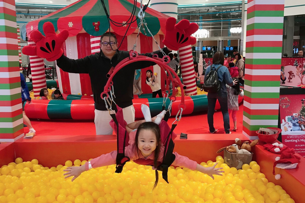 Jeremy and his seven-year-old daughter, Tiffany playing around in the ball pit in Resorts World Genting.