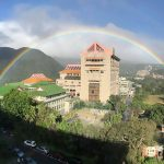 """Pics shows: The rainbow in North Taiwan;  A stunning rainbow in Taiwan lasting a full nine hours has set a new world record for the longest observed natural phenomenon of its kind.  The huge, colourful band spanning almost the entire city of Taipei, the island's capital, lasted three hours longer than the previous record set in Sheffield, England, in 1994 when a rainbow lasted from 9am to 3pm.  Residents of Taipei and even neighbouring New Taipei City stopped in their tracks when the large rainbow first appeared in the morning and lasted well into the afternoon.  Pictures going viral on social media show the 30th November phenomenon from multiple angles, with netizens saying they had """"never seen a rainbow so clearly"""" in their lives.  Incredibly, just three days earlier, climate observers at the Chinese Culture University in Taipei's Shilin District began recording data for another rainbow that lasted some six hours.  But before they could finish compiling reports to determine whether it had actually broken the 23-year-old Sheffield record, the much longer nine-hour rainbow appeared days later.  Professor Liu Ching-hwang with the university's Department of Atmospheric Sciences said the record-breaking rainbow appeared at around 7:15am in the morning and lasted until after 4pm Taipei time.  Liu explained: """"Because of the local terrain [in Shilin District] and the seasonal northeasterly winds, moisture often collects here and condenses into rain, which causes rainbows when there is sunshine.""""  """"They're actually quite common in this area, especially in this season, but we never recorded them in the past,"""" he added."""