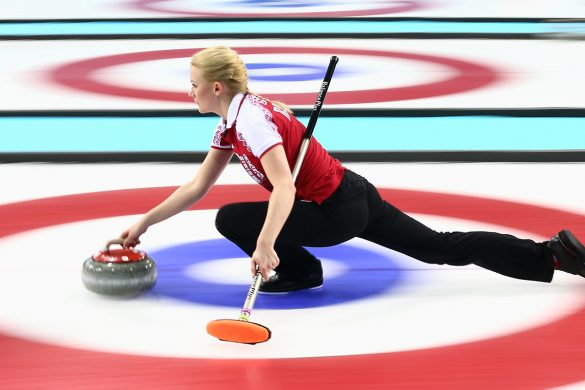 SOCHI, RUSSIA - FEBRUARY 10:  Alexandra Saitova of Russia in action during the round robin match against Denmark during day 3 of the Sochi 2014 Winter Olympics at Ice Cube Curling Center on February 10, 2014 in Sochi, Russia.  (Photo by Clive Mason/Getty Images)